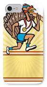 Turkey Run Runner Side Cartoon Isolated IPhone Case by Aloysius Patrimonio