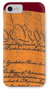 Us Constitution Closeup Sculpture Violet Red Background IPhone Case by L Brown