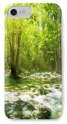 Waterfall In Rainforest IPhone Case by Atiketta Sangasaeng