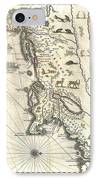 1635 Blaeu Map Of New England And New York IPhone Case by Paul Fearn