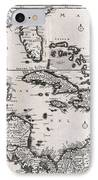1696 Danckerts Map Of Florida The West Indies And The Caribbean IPhone Case by Paul Fearn