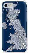 Great Britain Uk City Text Map IPhone Case by Michael Tompsett