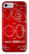 1891 Police Nippers Handcuffs Patent Artwork - Red IPhone Case