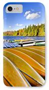 Canoes On Autumn Lake IPhone Case by Elena Elisseeva