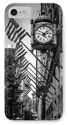 Chicago Macy's Clock In Black And White IPhone Case by Paul Velgos