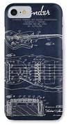 Fender Floating Tremolo Patent Drawing From 1961 - Navy Blue IPhone Case