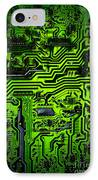 Glowing Green Circuit Board IPhone Case by Amy Cicconi