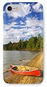 Red Canoe On Lake Shore IPhone Case by Elena Elisseeva