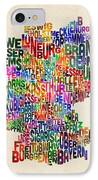 Text Map Of Germany Map IPhone Case by Michael Tompsett