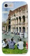 Outside Colosseum In Rome IPhone Case by George Atsametakis