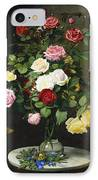 A Bouquet Of Roses In A Glass Vase By Wild Flowers On A Marble Table IPhone Case