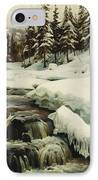 A Winter Landscape With A Mountain Torrent IPhone Case by Peder Monsted