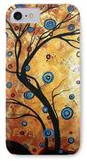 Abstract Art Landscape Tree Metallic Gold Texture Painting Free As The Wind By Madart IPhone Case