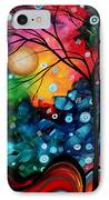 Abstract Art Landscape Tree Painting Brilliance In The Sky Madart IPhone Case by Megan Duncanson