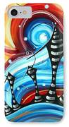 Abstract Art Original Colorful Funky House Painting Home On The Hill By Madart IPhone Case