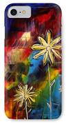 Abstract Art Original Daisy Flower Painting Visual Feast By Madart IPhone Case by Megan Duncanson