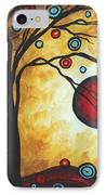 Abstract Art Original Metallic Gold Landscape Painting Freedom Of Joy By Madart IPhone Case