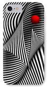 Abstract - Catch The Red Ball IPhone Case by Mike Savad