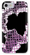 Abstract Leaf Pattern - Black White Pink IPhone Case