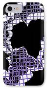 Abstract Leaf Pattern - Black White Purple IPhone Case