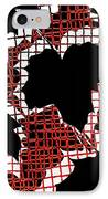 Abstract Leaf Pattern - Black White Red IPhone Case