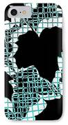 Abstract Leaf Pattern - Black White Turquoise IPhone Case