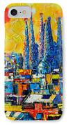 Abstract Sunset Over Sagrada Familia In Barcelona IPhone Case