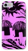 African Huts Pink IPhone Case