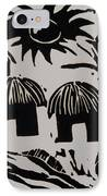 African Huts White IPhone Case by Caroline Street