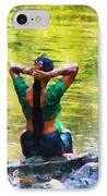 After The River Bathing. Indian Woman. Impressionism IPhone Case by Jenny Rainbow
