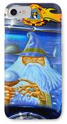 Airbrush Magic - Wizard Merlin On A Motorcycle IPhone Case by Christine Till