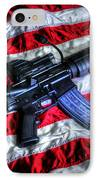 American Flag With Rifle IPhone Case by Geoffrey Coelho