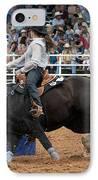 American Rodeo Female Barrel Racer Dark Horse I IPhone Case by Sally Rockefeller