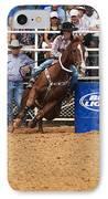 American Rodeo Female Barrel Racer White Blaze Chestnut Horse Iv IPhone Case by Sally Rockefeller