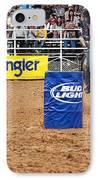 American Rodeo Female Barrel Racer White Star Horse I IPhone Case by Sally Rockefeller
