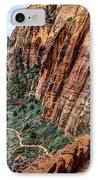Angels Landing Trail From High Above Zion Canyon Floor IPhone Case by Gary Whitton