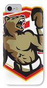 Angry Bear Boxer Boxing Retro IPhone Case by Aloysius Patrimonio