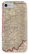 Antique Map Of Indiana By George Franklin Cram - 1888 IPhone Case
