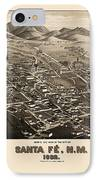 Antique Map Of Santa Fe New Mexico By H. Wellge - 1882 IPhone Case by Blue Monocle