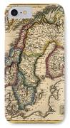 Antique Map Of Scandinavia By Fielding Lucas - Circa 1817 IPhone Case by Blue Monocle