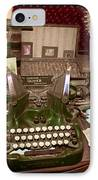 Antique Oliver Typewriter On Old West Physician Desk IPhone Case by Janice Rae Pariza