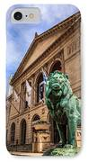 Art Institute Of Chicago Lion Statue IPhone Case by Paul Velgos