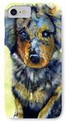 Australian Shepherd Puppy IPhone Case by Janine Riley