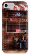 Barber - Metuchen Nj - Waiting For Mike IPhone Case by Mike Savad