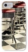 Barstools Of Vintage Roadside Diner IPhone Case by Phillip Rubino