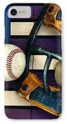 Baseball Catchers Mask Vintage On American Flag IPhone Case