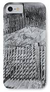 Beach Fence Bw IPhone Case