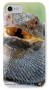 Bearded Dragon In Defense Mode IPhone Case by Christopher Edmunds
