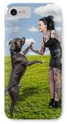 Beautiful Woman And Pit Bull IPhone Case by Rob Byron