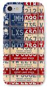 Betsy Ross American Flag Michigan License Plate Recycled Art On Red Board IPhone Case by Design Turnpike